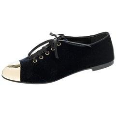 Giuseppe Zanotti Blue Velvet Gold Tone Cap Toe Oxford Flats Size 37.5