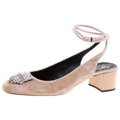 Giuseppe Zanotti Blush Pink Velvet Crystal Embellished Slingback Sandals Size 40
