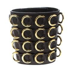 Giuseppe Zanotti Brown Leather Gold Tone Extra Wide Cuff Bracelet