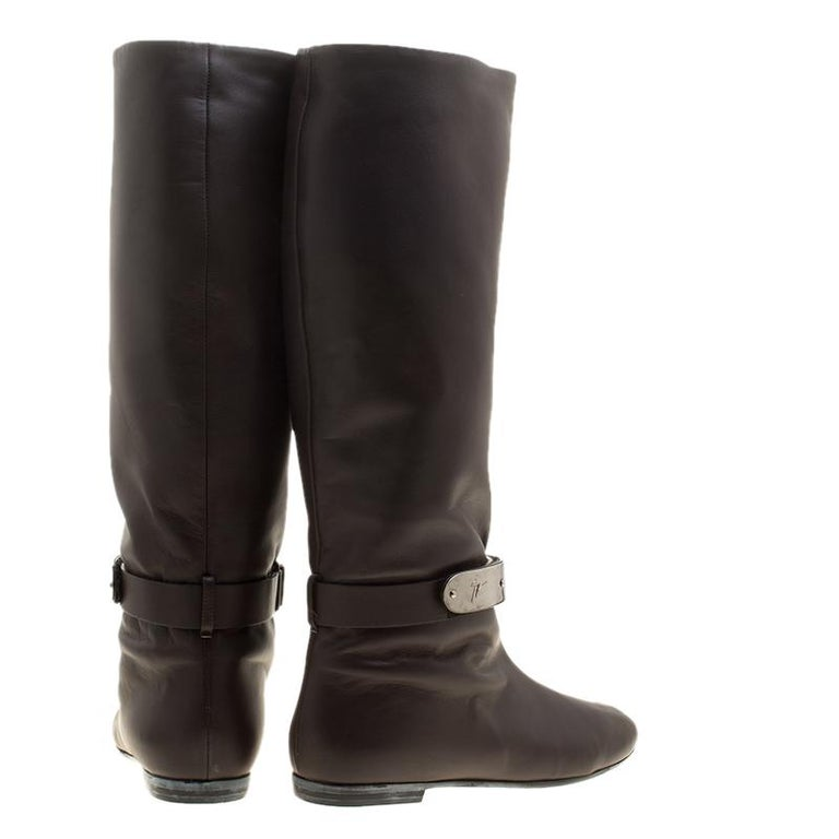 07e01140be30e Black Giuseppe Zanotti Brown Leather Logo Plaque Flat Over the Knee Boots  Size 38 For Sale