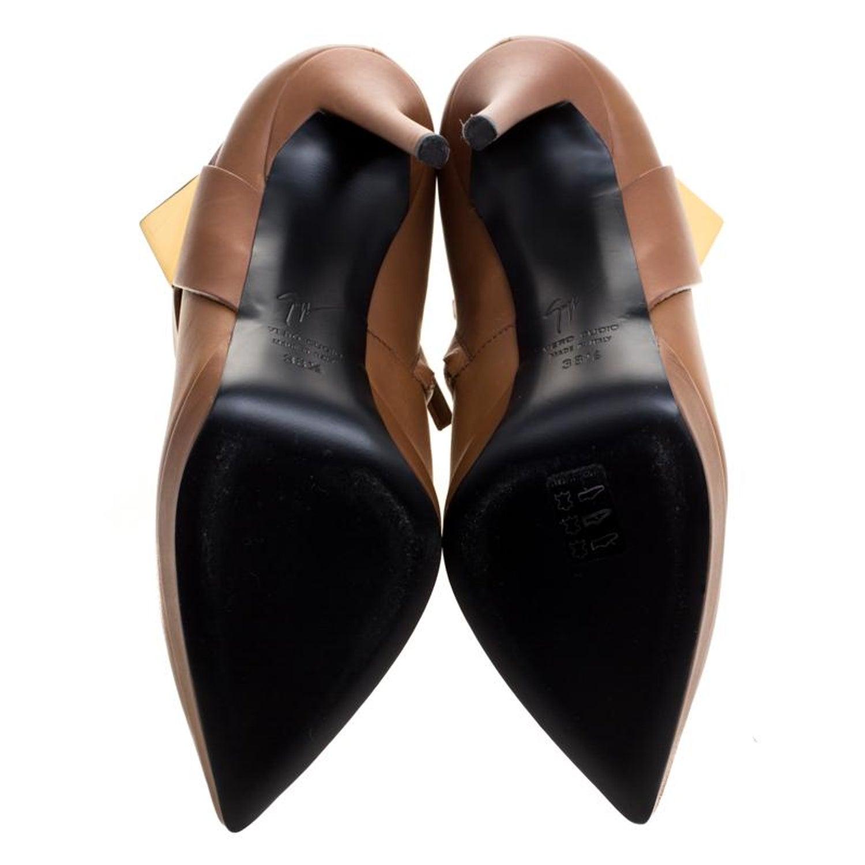 Giuseppe Zanotti Brown Leather Pyramid Stud Platform Ankle Boots Size 38 5