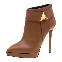 Giuseppe Zanotti Brown Leather Pyramid Stud Platform Ankle Boots Size 38.5