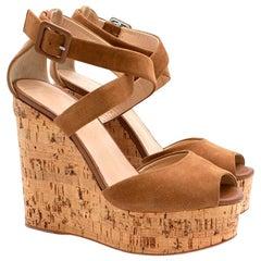 Giuseppe Zanotti Brown Platform Wedge Sandals 37