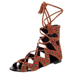 Giuseppe Zanotti Brown Studded Suede Gladiator Tassel Lace Flat Sandals Size 37