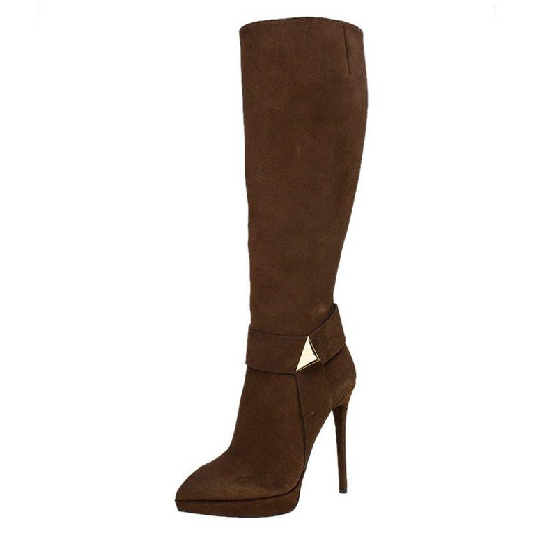 9982d70b36b Giuseppe Zanotti Brown Suede Pyramid Stud Platform Knee Boots Size 37 For  Sale