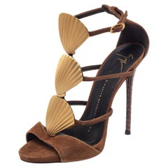 Giuseppe Zanotti Brown Suede Seashell Embellished Ankle Strap Sandals Size 36