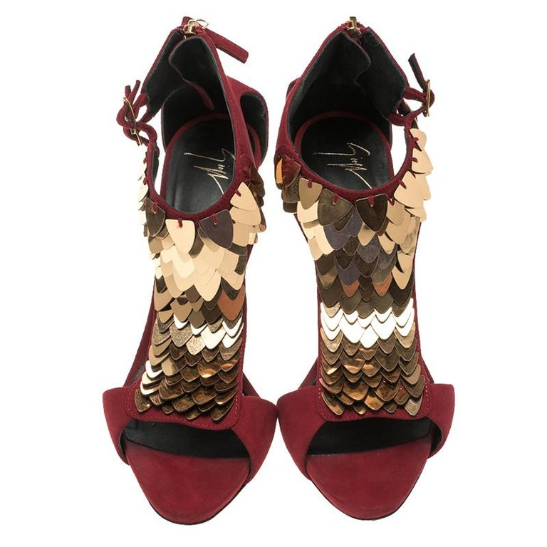 3ed6fd74446b Brown Giuseppe Zanotti Cherry Red Embellished Suede Peep Toe Sandals Size  37.5 For Sale