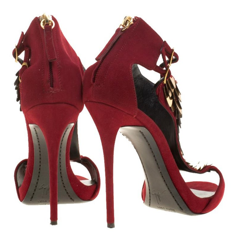 61a29574baed Women s Giuseppe Zanotti Cherry Red Embellished Suede Peep Toe Sandals Size  37.5 For Sale