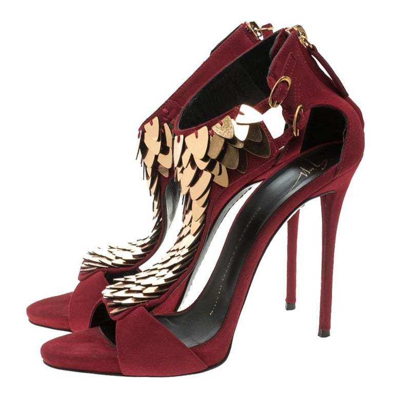cca6ac9be864 Giuseppe Zanotti Cherry Red Embellished Suede Peep Toe Sandals Size 37.5  For Sale 1