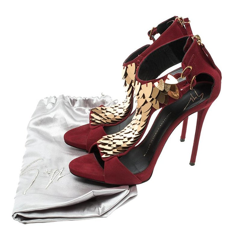 23c89b1a7c06 Giuseppe Zanotti Cherry Red Embellished Suede Peep Toe Sandals Size 37.5  For Sale 3