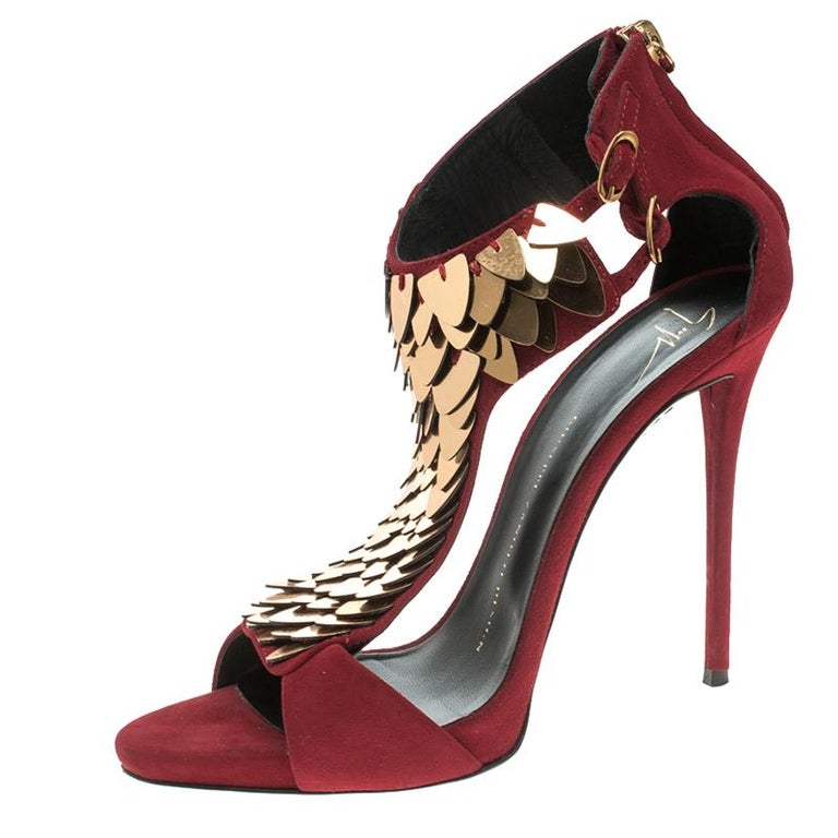 ed413ca6b3b3 Giuseppe Zanotti Cherry Red Embellished Suede Peep Toe Sandals Size 37.5  For Sale