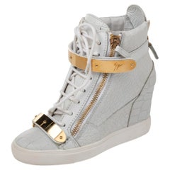 Giuseppe Zanotti Croc Embossed And Leather Wedge High Top Sneakers Size 38