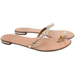 Giuseppe Zanotti Crystals Embellished Flat Sandals 37.5