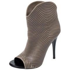 Giuseppe Zanotti Dark Beige Stitch Detail Leather Peep Toe Ankle Bootie Size37.5