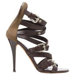 GIUSEPPE ZANOTTI dark brown strappy military green canvas high heel sandals EU38