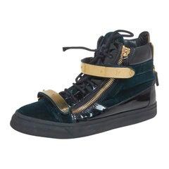 Giuseppe Zanotti Dark Green/Gold  Leather Bar High Top Sneakers Size 40