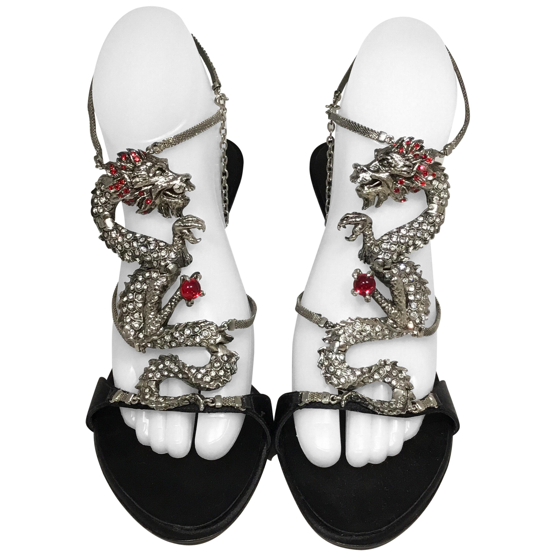 5c0a309ac8207 Giuseppe Zanotti Dragon with Rhinestone Sandal Heels at 1stdibs