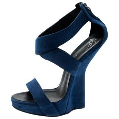 Giuseppe Zanotti Electric Blue Suede Cross Strap Heelless Sandals Size 40.5