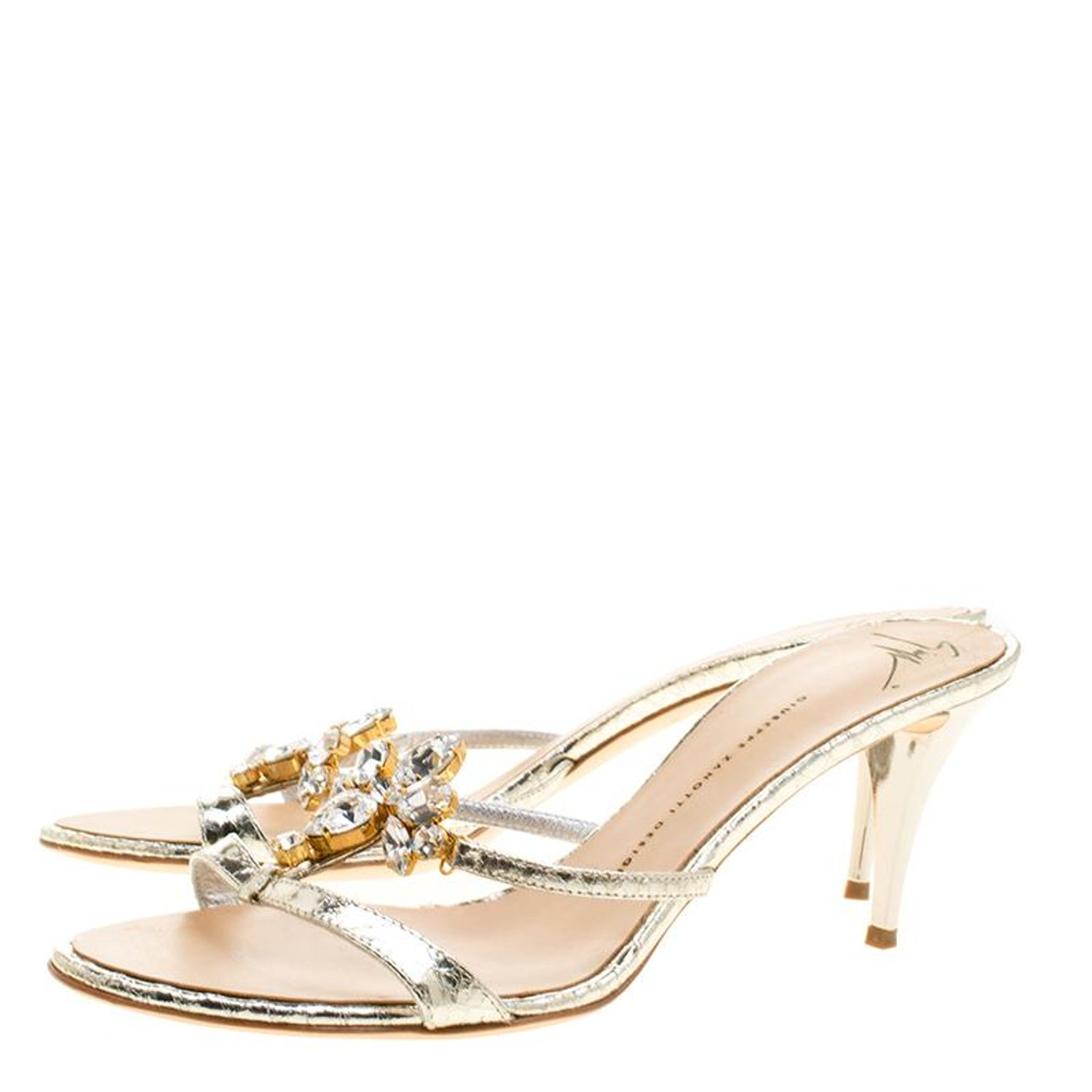 ab2c70c54feab Giuseppe Zanotti Embossed Leather Crystal Embellished Open Toe Slides Size  41 For Sale at 1stdibs