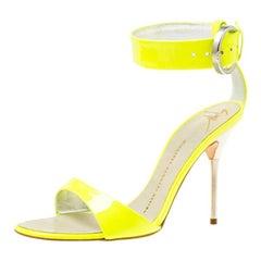 Giuseppe Zanotti Fluorescent Green Patent Leather Ankle Strap Sandals Size 36