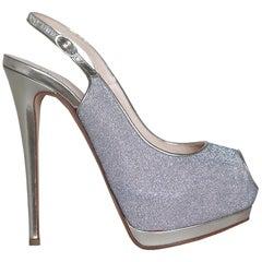 Giuseppe Zanotti Glittered Mirrored Leather Platform Sandals