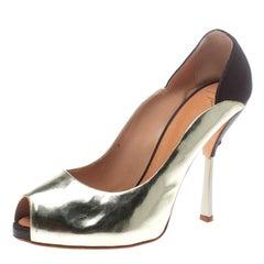 Giuseppe Zanotti Gold/Burgundy Leather Peep Toe Pumps Size 40