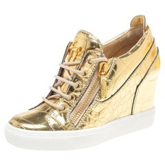 Giuseppe Zanotti Gold Croc Embossed Leather Double Zip Wedge Sneakers Size 37