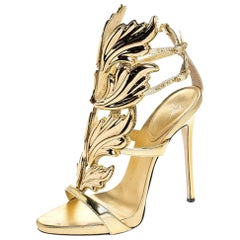 Giuseppe Zanotti Gold Leather Baroque Leaf Sandals Size 38