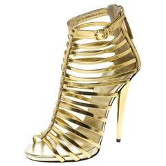 Giuseppe Zanotti Gold Leather Gladiator Peep Toe Sandals Size 37
