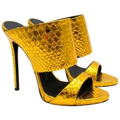 Giuseppe Zanotti Gold Metallic Andrea Heeled Mules 40