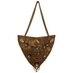 Giuseppe Zanotti Gold Tone Leather Embellished Evening Shoulder Bag