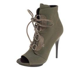 Giuseppe Zanotti Green Canvas Lace Up Peep Toe Booties Size 38