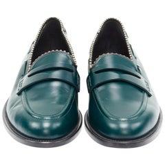 GIUSEPPE ZANOTTI green leather silver stud trimmed penny loafer EU44