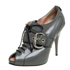 Giuseppe Zanotti Grey Leather Lace Up Buckle Detail Booties Size 37.5