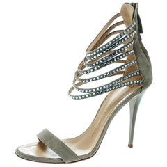 Giuseppe Zanotti Grey Suede Crystal Ankle Strap Open Toe Sandals Size 40