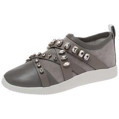 Giuseppe Zanotti Grey Suede Crystal Embellihsed Low Top Sneakers Size 37.5