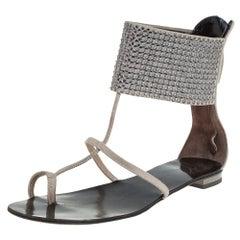 Giuseppe Zanotti Grey Suede Embellished Flat Ankle Cuff Sandals Size 36
