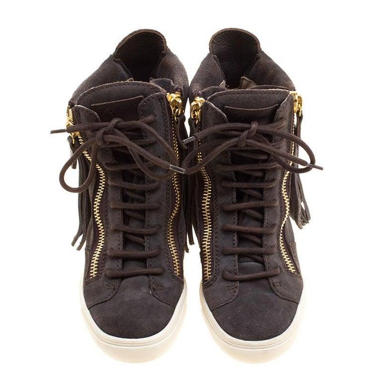 613f7f6ba92ca Black Giuseppe Zanotti Grey Suede Lorenz Fringe Wedge Sneakers Size 37 For  Sale