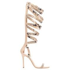 GIUSEPPE ZANOTTI JENNIFER LOPEZ python print strappy gladiator sandals EU37.5