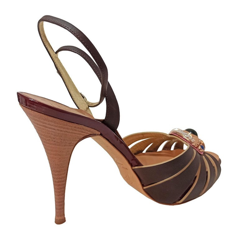 Beautiful pair of Giuseppe Zanotti Design sandals Leather Brown color Central jewel Ankle buckle Heel high cm 12 (4,72 inches) Plateau cm 2,5 (0,98 inches) Made in Italy Worldwide express shipping included in the price !