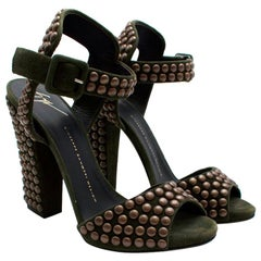 Giuseppe Zanotti Khaki Studded suede sandals - Size US8.5