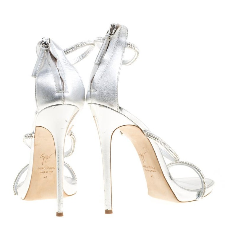 da25a90dfbd37 Gray Giuseppe Zanotti Leather Crystal Embellished Harmony Ankle Strap  Sandals Size 41 For Sale