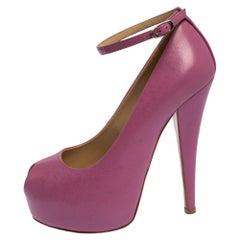 Giuseppe Zanotti Lilac Leather Monro Ankle Strap Peep Toe Platform Pumps Size 36