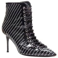 GIUSEPPE ZANOTTI Lucrezia black patent crystal embellished  lace up bootie EU39