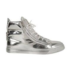 Giuseppe Zanotti Men's Silver Mirror High Top Sneaker w/ Zip Detail 43 / 10