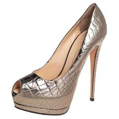 Giuseppe Zanotti Metallic Bronze Croc Embossed Leather Peep Toe Pumps Size 39