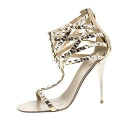 Giuseppe Zanotti Metallic Dull Gold Leather Crystal Embellished Sandals Size 37