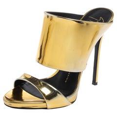 Giuseppe Zanotti Metallic Gold Leather Andrea Open Toe Sandals Size 37