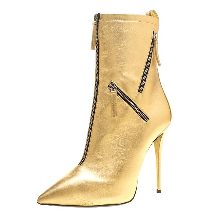 a247cd5f1157 Giuseppe Zanotti Metallic Gold Leather Multi Zip Detail Pointed Boots Size  37.5 For Sale