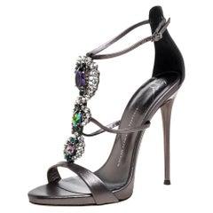 Giuseppe Zanotti Metallic Grey Crystal Embellished Strappy Sandals Size 40